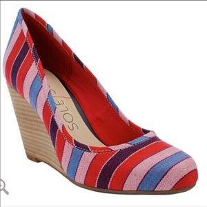 SOLE SOCIETY rainbow striped wedges